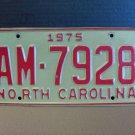 1975 North Carolina YOM License Plate Tag NC AM-7928