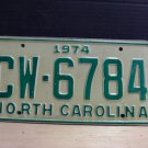1974 North Carolina YOM License Plate Tag NC CW-6784 Mint Unissued