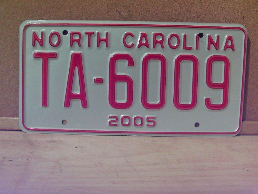 2005 North Carolina Original Taxi License Plate NC #TA-6009