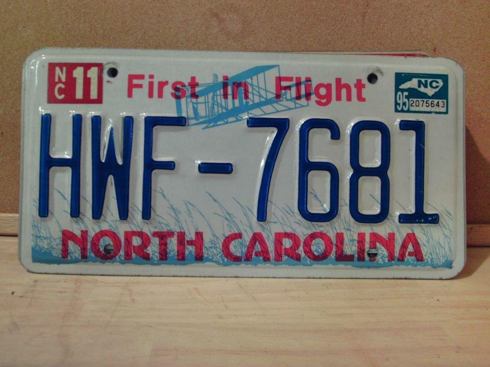 1995 North Carolina License Plate NC #HWF-7681