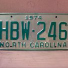 1974 North Carolina Mint Natural License Plate NC #HBW-246