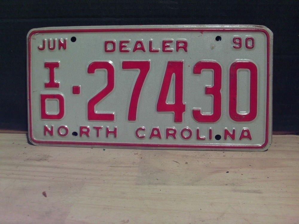 1990 North Carolina NC Dealer License Plate Tag #ID-27430