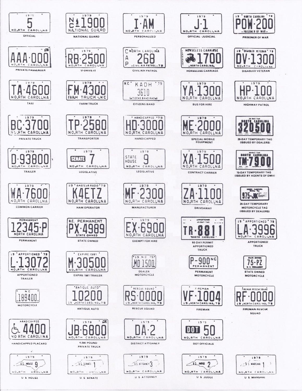 1979 North Carolina NC License Plate Tags Blotter Copy