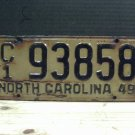 1949 North Carolina Transporter License Plate C/1 93858