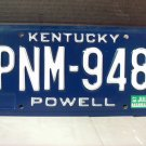 1987 Kentucky KY YOM License Plate Tag #PNM948