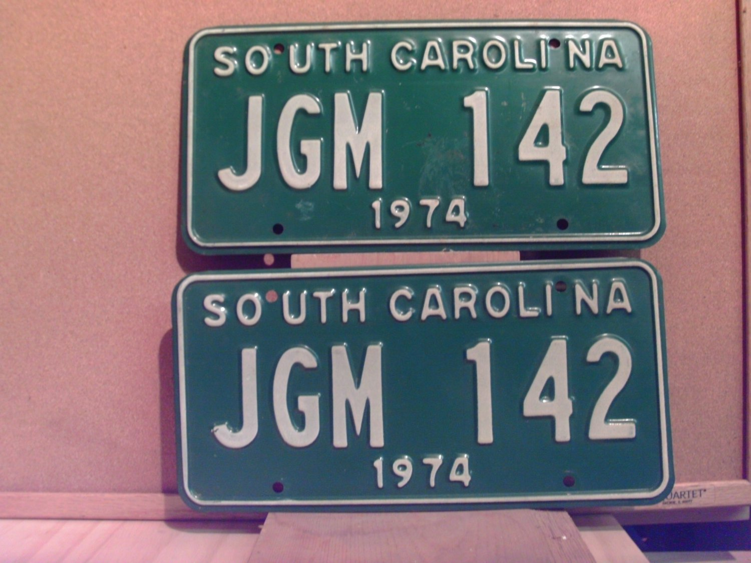 1974 South Carolina SC License Plate Pair Tag #JGM-142