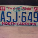 1987 North Carolina Passenger License Plate NC #ASJ-649