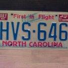 1987 North Carolina Passenger License Plate NC #HVS-646