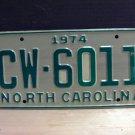 1974 North Carolina Mint Truck License Plate NC Random Number