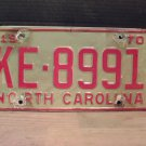 1970 North Carolina License Plate NC #KE-8991