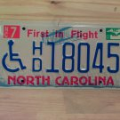 2003 North Carolina NC Handicapped License Plate Tag #HD18045
