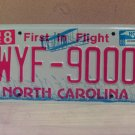 2008 North Carolina NC Red Letter License Plate Tag WYF-9000 EX-N
