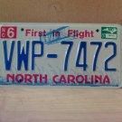 2007 North Carolina NC License Plate Tag #VWP-7472 Mint Stickered