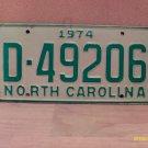 1974 North Carolina YOM License Plate Tag NC D-49206