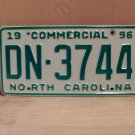 1996 North Carolina Commercial Truck EX License Plate NC DN-3744