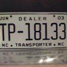 2003 North Carolina Dealer Transporter License Plate NC #TP-18133