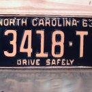 1963 North Carolina Rat Rod License Plate Tag NC #3418-T YOM