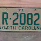 1971 North Carolina YOM License Plate Tag NC R-2082