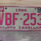 1986 North Carolina NC License Plate VBF-263