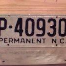 1950s North Carolina Permanent License Plate NC #P-40930