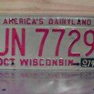1979 Wisconsin WI License Plate Tag #UN-7729