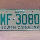 1974 North Carolina Mint Unissued YOM License Plate NC #MF-3080