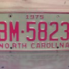 1975 North Carolina YOM License Plate Tag NC EX BM-5823