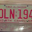 1975 North Carolina YOM License Plate Tag NC DLN-194