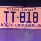 1958 North Carolina Rat Rod License Plate Tag NC #TT-818 YOM