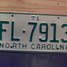 1971 North Carolina Rat Rod License Plate Tag NC #FL-7913 YOM