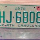 1979 North Carolina NC Truck License Plate HJ-6808