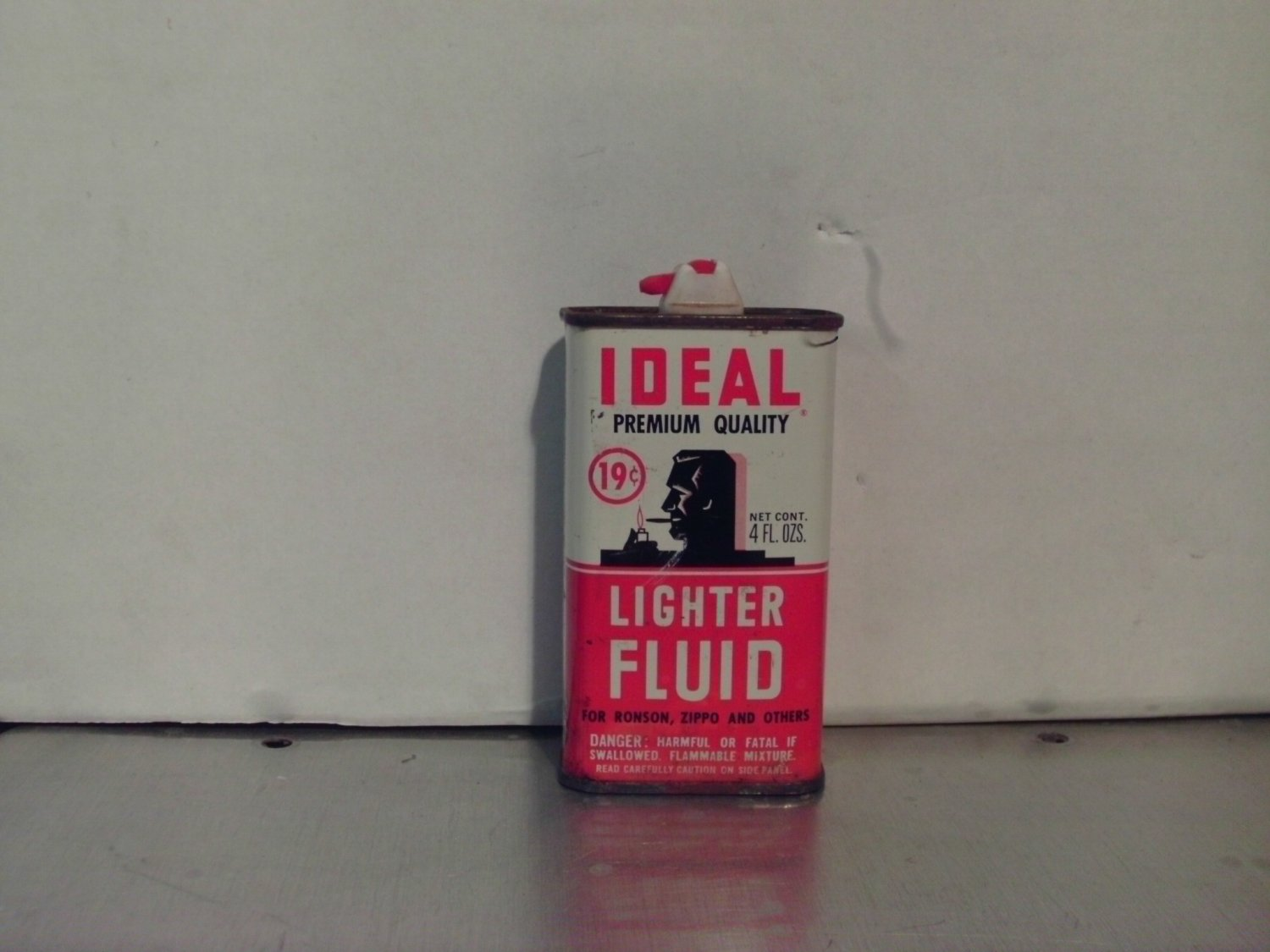 Ideal Lighter Fluid Tin Can with Flip Top Spout