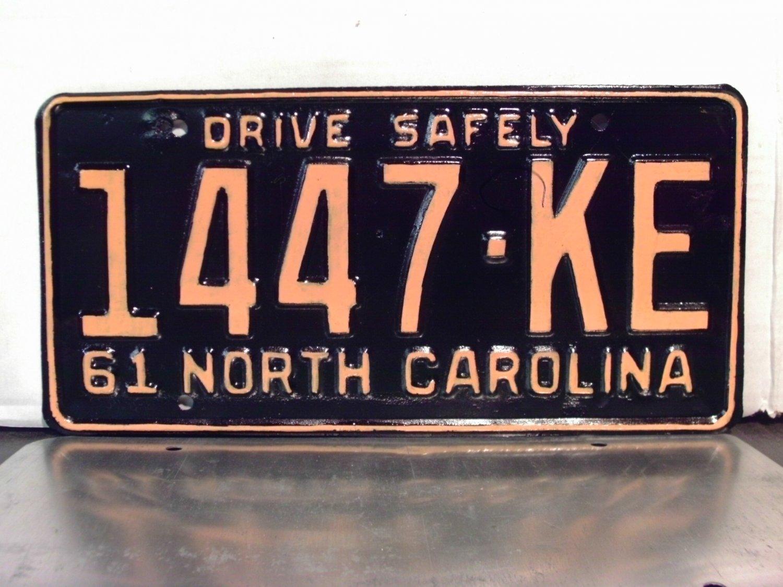 1961 North Carolina Rat Rod License Plate Tag NC #1447-KE YOM