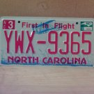 2010 North Carolina Mint Natural License Plate NC #YWX-9365 With Registration