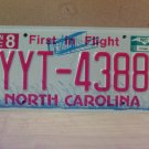 2010 North Carolina Mint Unissued License Plate NC YYT-4388