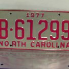 1977 North Carolina NC YOM Trailer / Camper License Plate B-61299 Mint