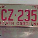 1970 North Carolina License Plate NC #CZ-235