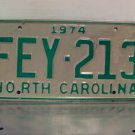 1974 North Carolina License Plate NC #FEY-213