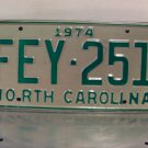 1974 North Carolina License Plate NC #FEY-251
