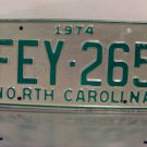 1974 North Carolina License Plate NC #FEY-265