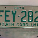 1974 North Carolina License Plate NC #FEY-282