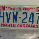 1987 North Carolina First in Flight License Plate NC #HVW-247