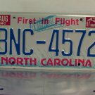 1987 North Carolina First in Flight License Plate NC #BNC-4572