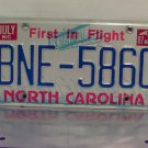 1987 North Carolina First in Flight License Plate NC #BNE-5860