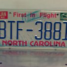 1988 North Carolina First in Flight License Plate NC #BTF-3881