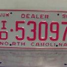 1990 North Carolina NC Dealer License Plate Tag #ID-53097