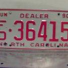 1990 North Carolina NC Dealer License Plate Tag #FD-36415