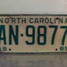 1969 North Carolina NC Passenger YOM License Plate AN-9877