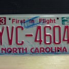 2010 North Carolina NC License Plate Tag YVC-4604 EX-N