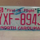 2010 North Carolina NC License Plate Tag YXF-8943 EX-N